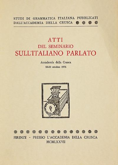 Atti del seminario sull'italiano parlato