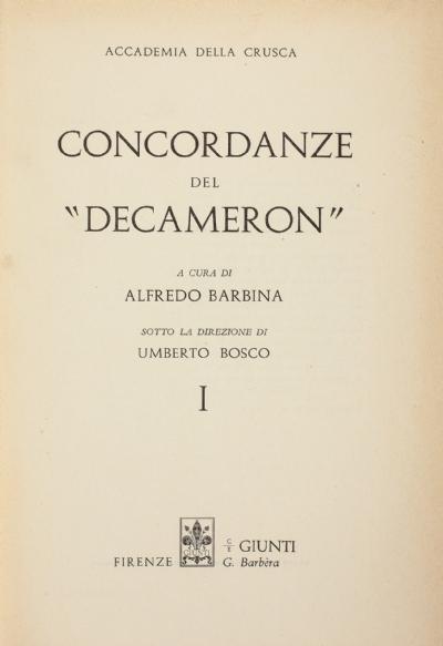 Concordanze del «Decameron»